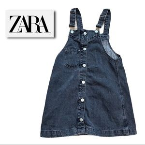 ZARA kids black denim jean overall dress 10